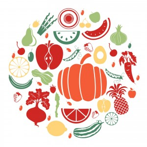 fruit and vegetable motif