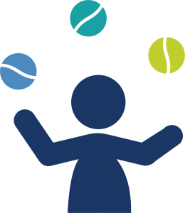 icon of person juggling, three balls in the air