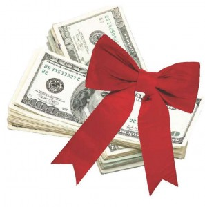 Money with Holiday ribbon on top