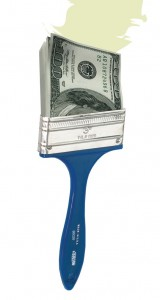 Paintbrush with 100 dollar bill for bristles