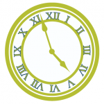 Seedling Green Clock with roman numerals