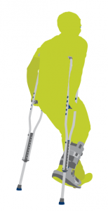 Seedling green man on crutches icon