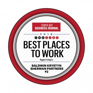 Tampa Bay Business Journal Best Places to Work award