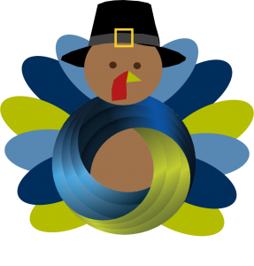 Thanksgiving turkey wearing pilgrim hat with BKS knot representing the body.