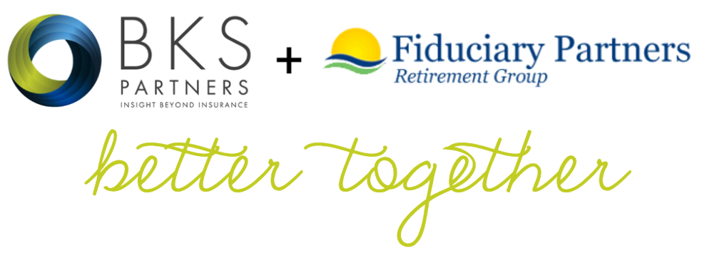 "BKS-Partners Logo plus Fiduciary Partners Retirement Group Logo. Text that reads ""better together"""