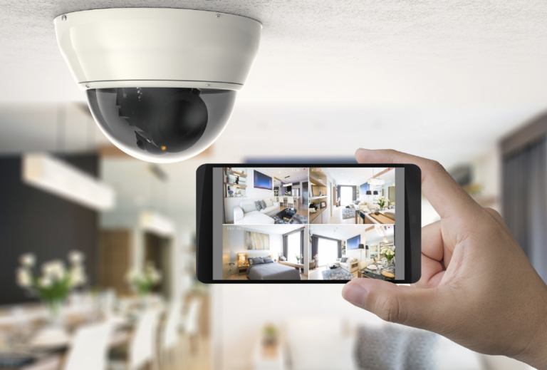 View of home security camera through a phone